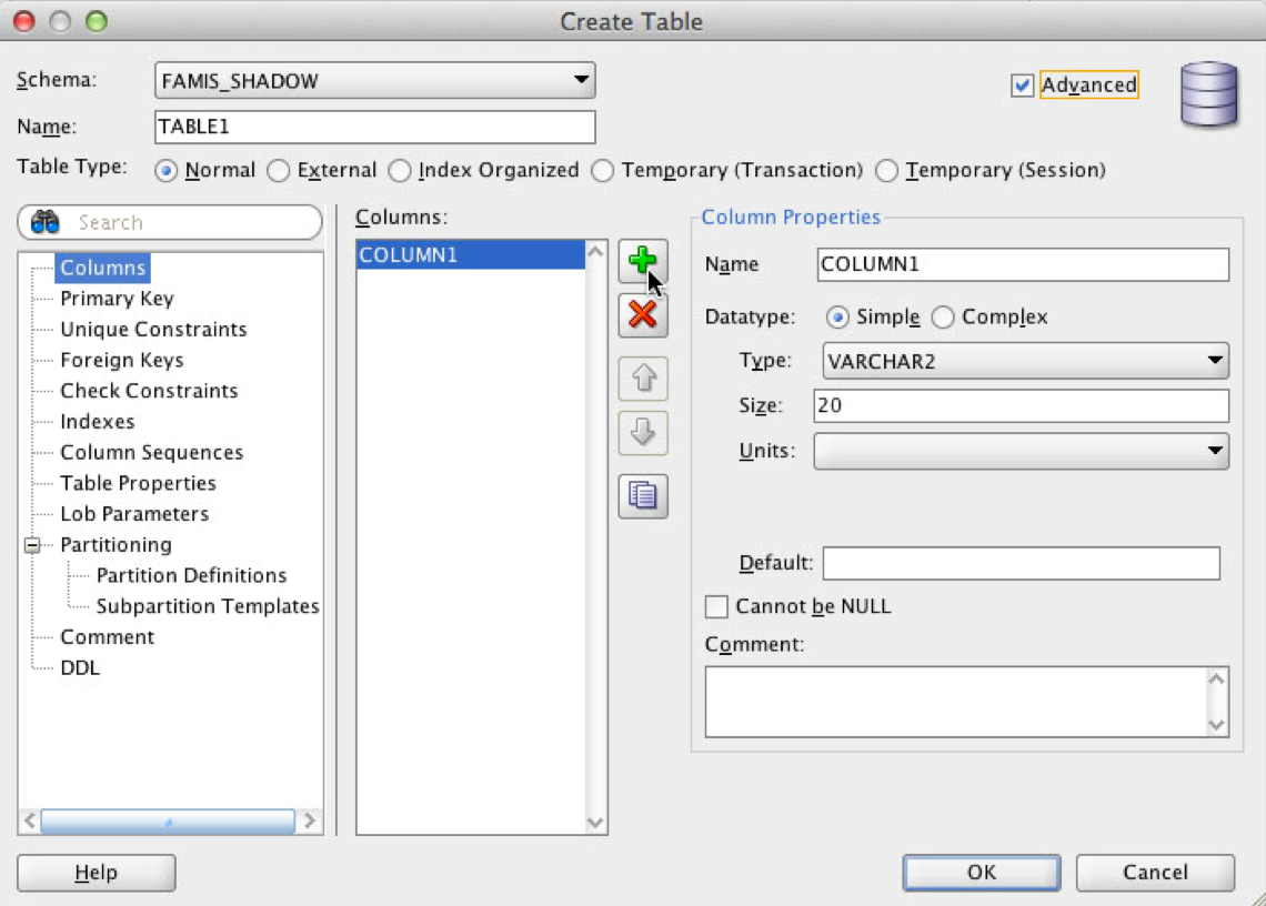 Operate oracle sql developer adding table on shadow - Create table in oracle sql developer ...